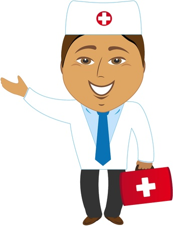 indian professional: cartoon happy asian doctor showing hand