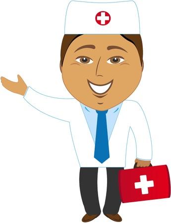 cartoon happy asian doctor showing hand Vector