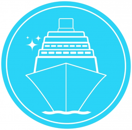blue sea sign with ship in round and star Vector