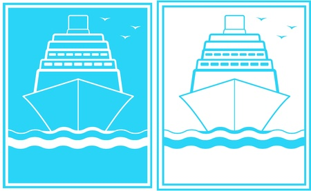 set of two blue sign with ship - symbol sea shipping