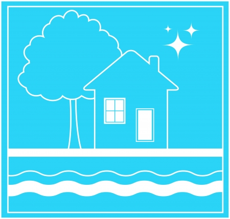 transparently: blue sign in frame with house and water stream silhouette