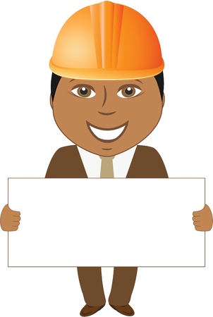 cartoon smile afro builder engineer with blank for text Vector