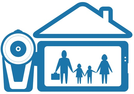 blue symbol home video with family and video camera silhouette Vector