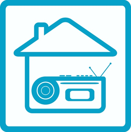 blue symbol with voice recorder and house silhouette Vector