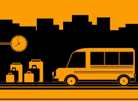 urban background with bus station and clock symbol travel