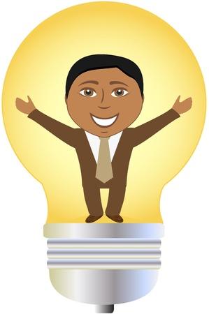 employ� heureux: concept isol� homme d'affaires prosp�re afro-am�ricain dans le bulbe Illustration