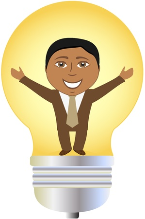 invent: concept isolated successful afro american businessman in bulb