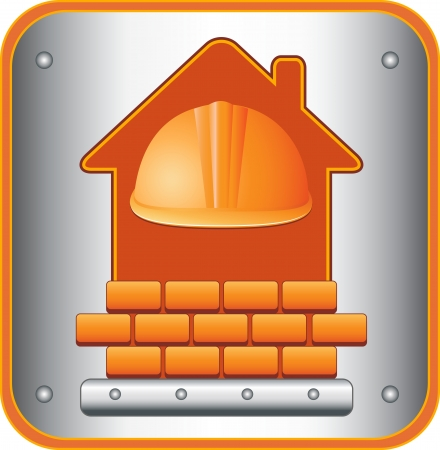 construction icon with helmet, house silhouette and bricks Vector