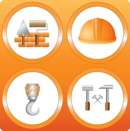 set construction sign - bricks, helmet, hammer, house, hook, roller and trowel Vector