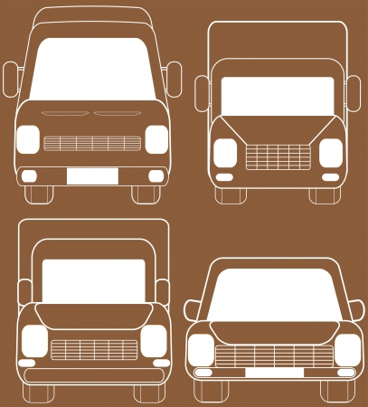 set brown isolated transport silhouette Vector