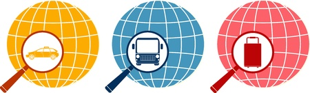set of magnifier with bag, taxi and bus on planet Stock Vector - 14723548