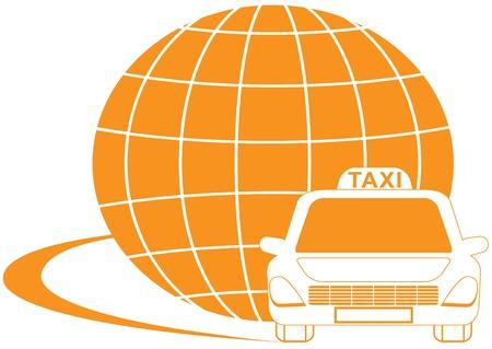 logo terre: jaune symbole taxi internationale avec la silhouette de la route, la cabine et la plan�te