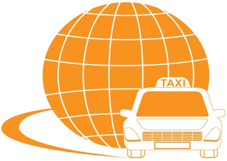 taxi sign: yellow international taxi symbol with road, cab and planet silhouette