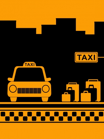 yellow urban taxi background with taxi stop and bag Vector