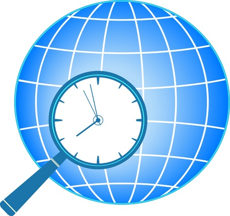 timezone: blue icon with magnifier, clock and planet silhouette Illustration