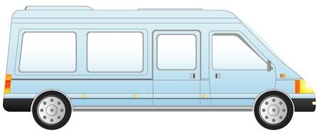 minivan: transport icon minivan - isolated blue mini bus