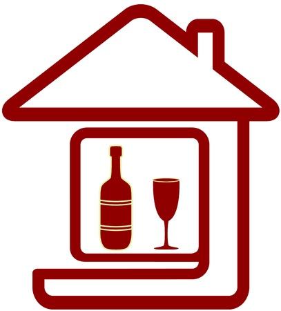 cartel rojo con la silueta botella de vino, el vidrio y la casa