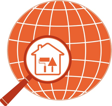 red repair icon with house trowel, roller in magnifier and planet silhouette Vector
