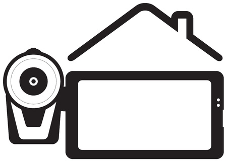 home video: symbol home video - videocamera and house silhouette with space for text
