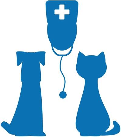 silhouette chat: symbole bleu de la médecine vétérinaire avec la silhouette de médecin, chien et chat