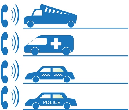 facia: callboard with sign for mobile social services first aid Illustration
