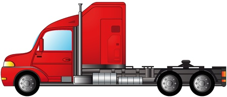 web side: isolated modern american heavy semi truck Illustration