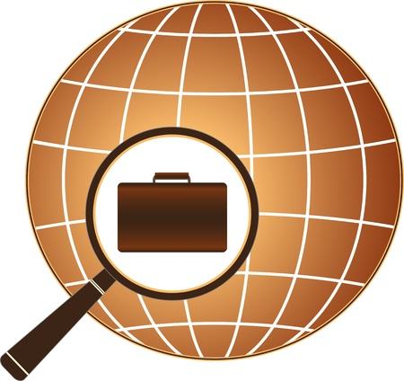 globe logo: isolated icon symbol employment center with suitcase, magnifier and planet