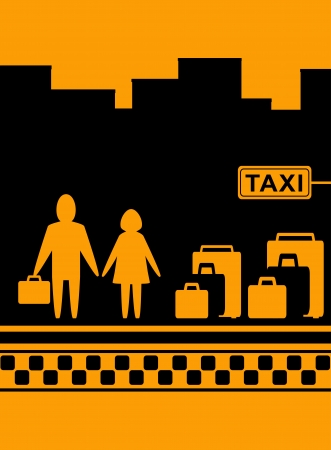 hailing: urban background man and woman with bag waiting cab in taxi stop