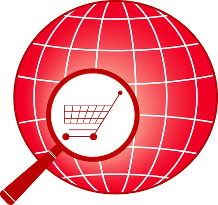 consumer rights: red icon - sign shopping cart in magnifier on planet silhouette Illustration