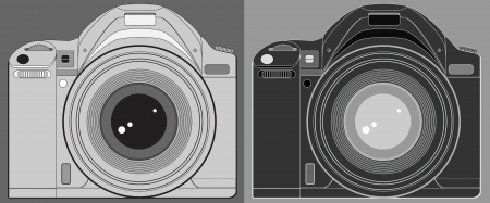 set two isolated modern photo camera silhouette Stock Vector - 15249239