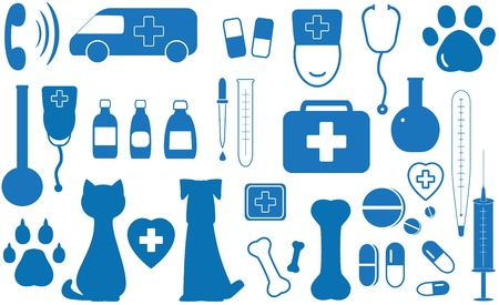 veterinarians: blue icon set veterinary objects