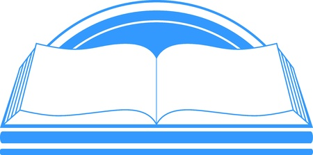 athenaeum: blue sign with book and sun, library symbol