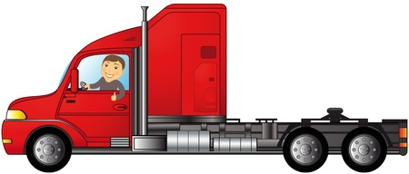 heavy american truck with man showing thumb up