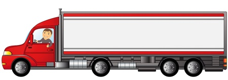 heavy truck with cartoon man showing thumb up with space for text Vector