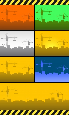 set colorful urban construction background with crane and skyscraper Vector