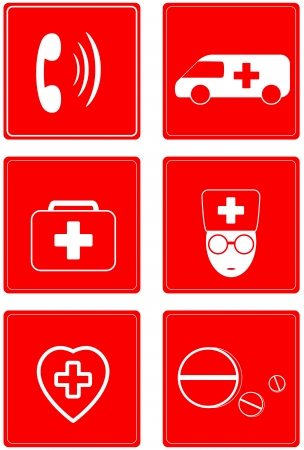 caduceus veterinary symbol: set red icons - medical buttons Illustration