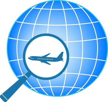 voyage: sign with planet and plane in magnifier