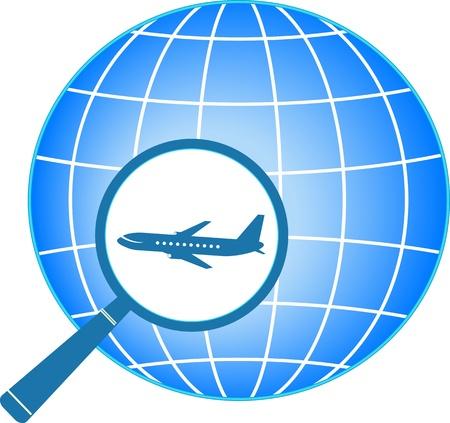 logo voyage: signer avec la planète et avion en loupe
