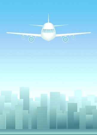 background with urban landscape with plane in sky Stock Vector - 15607723