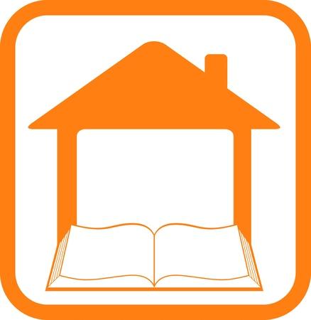 study icon: cartel amarillo en marco con el hogar y libro abierto Vectores