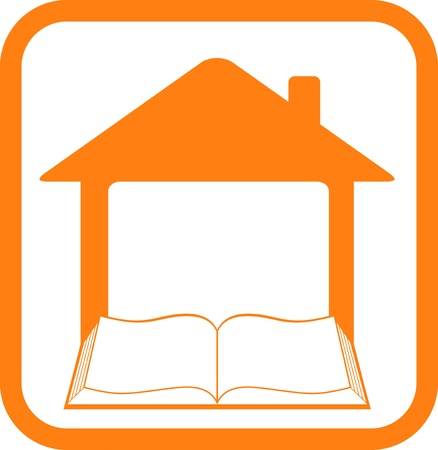 yellow sign in frame with home and open book Иллюстрация