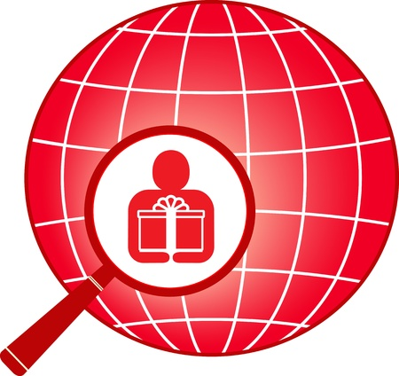 red sign with planet, magnifier and man with gift Vector