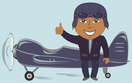 retro plane with afro american pilot showing thumb up and smile Vector