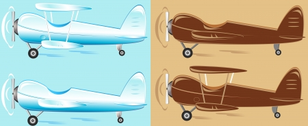 set cartoon retro plane different color Vector