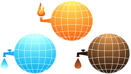 set isolated icon with planet resources - petroleum, water and gas fire Illustration