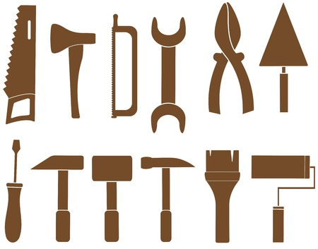 set isolated tools silhouette for repair Illustration