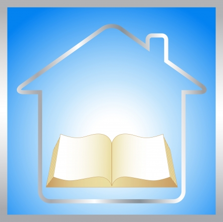 house logo: sign with book, house and sunrise - symbol education