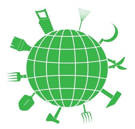 industrial landscape: segno verde con attrezzi da giardino e silhouette pianeta, simbolo del paesaggio