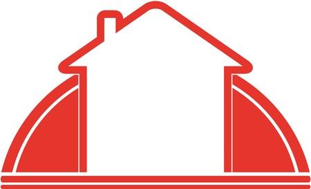 cartel rojo con el sol y la casa y el espacio para el texto Vectores