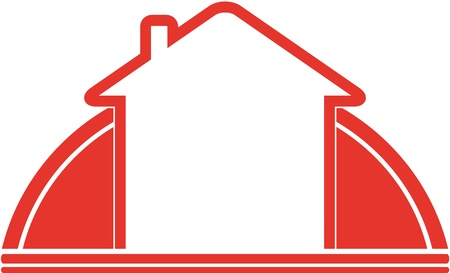 red sign with sun and house and space for text Иллюстрация